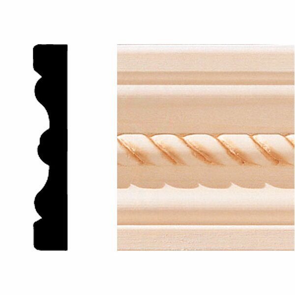 1/2 in. x 3 in. x 7 ft. Hardwood Rope Flute Casing Moulding by Manor House