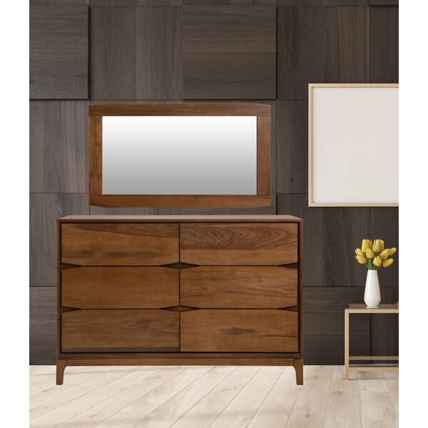 Madge Wooden Frame 6 Drawer Double Dresser with Mirror by George Oliver