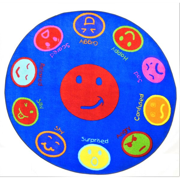 Jent My Feelings Blue Area Rug by Zoomie Kids