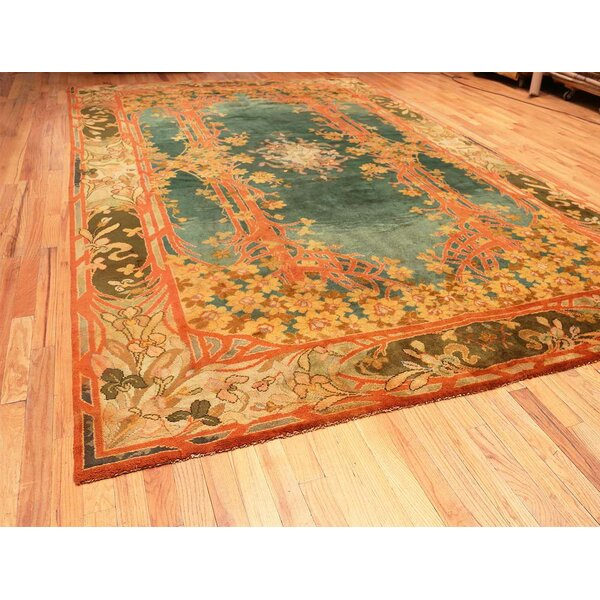 One-of-a-Kind Hand-Knotted 1920s Art Nouveau Green/Orange 10'2 x 17' Wool Area Rug
