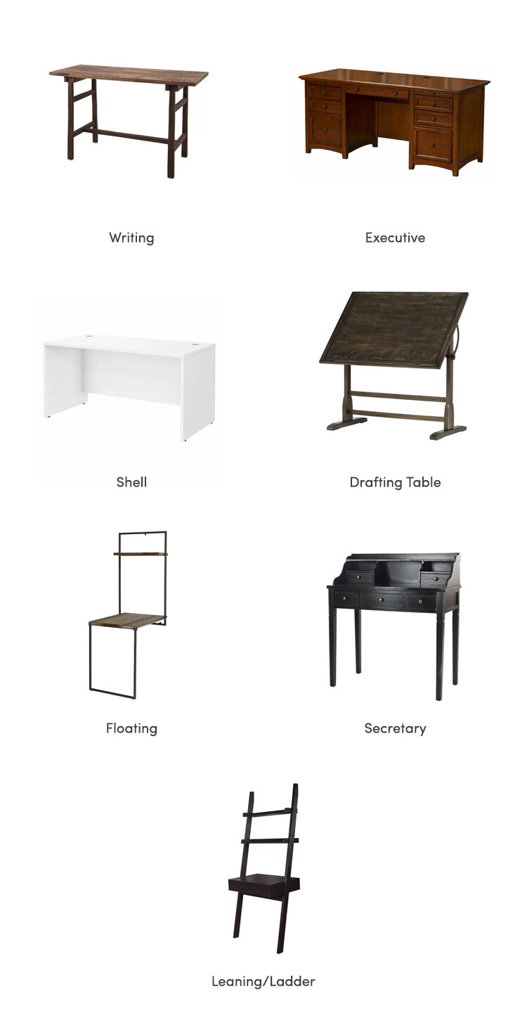 collage of all the desk types available