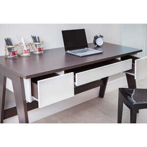 Holte 3 Drawer Wood Home Office Writing Desk