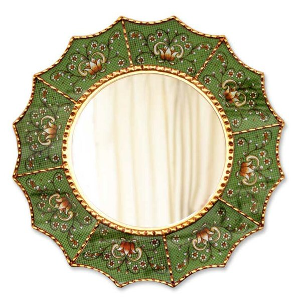 Reverse Painted Glass Wall Mirror by Novica