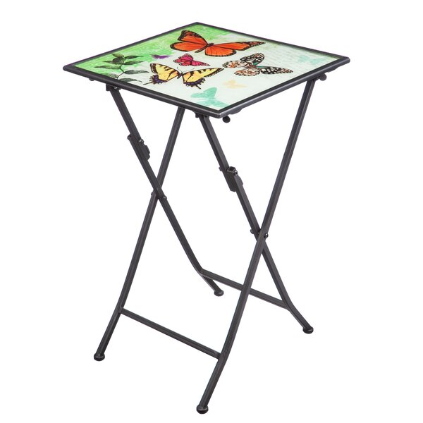 Baroda Butterfly Kaleidoscope Folding Steel Bistro Table by Winston Porter