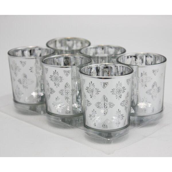 Ice Flower Laser Cut Glass Votive (Set of 6) by V-More Inc.