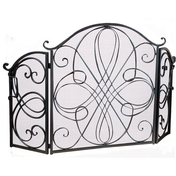 Terence 3 Panel Iron Fireplace Screen by Fleur De Lis Living