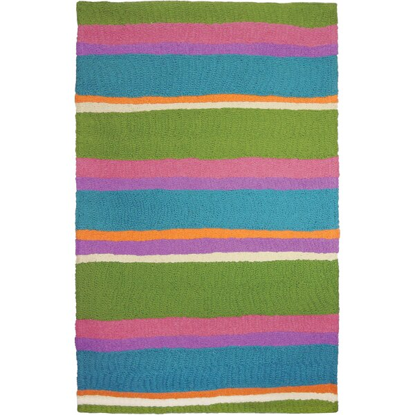 Cabana Stripes Hand-Hooked Blue/Green Indoor/Outdoor Area Rug by Highland Dunes