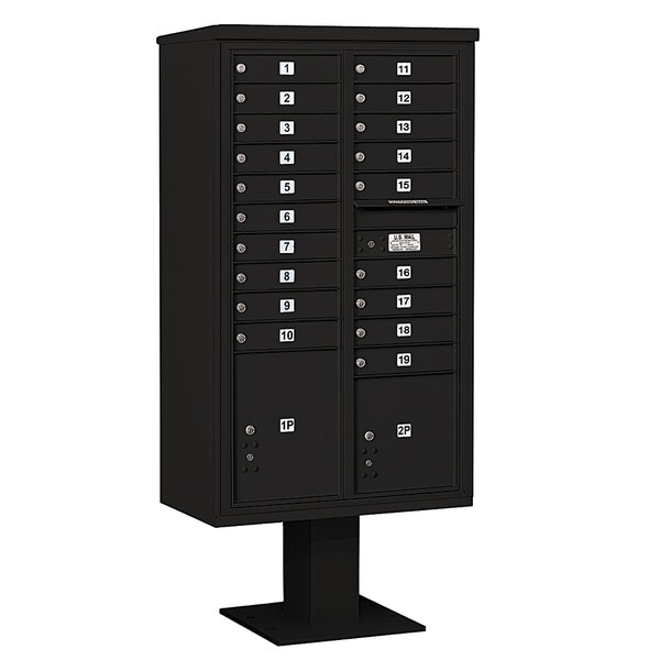 Pedestal Mounted 19 Units 22 Door Front Load 4C Horizontal Cluster Box Unit with 2 Parcel Lockers by Salsbury Industries