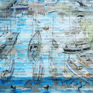 'Sea Of Boats' Painting Print on Wrapped Canvas by Marmont Hill