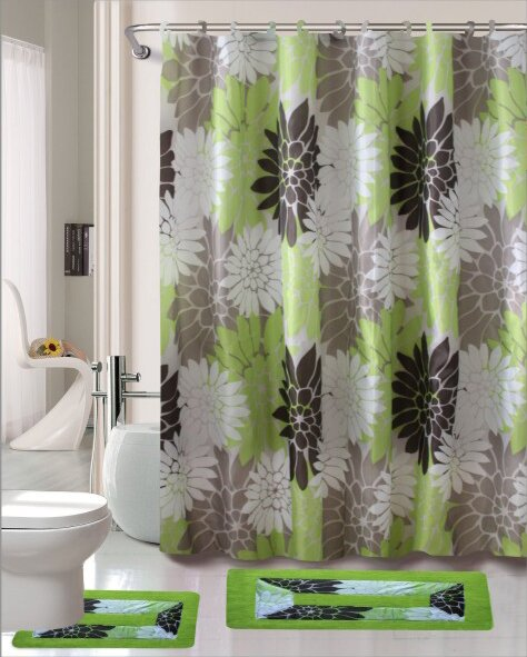 Erica 15 Piece Printed Shower Curtain Set by Kashi Home