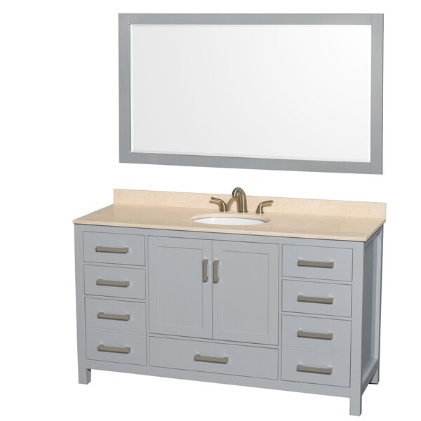 Sheffield 60 Single Gray Bathroom Vanity Set with Mirror by Wyndham Collection