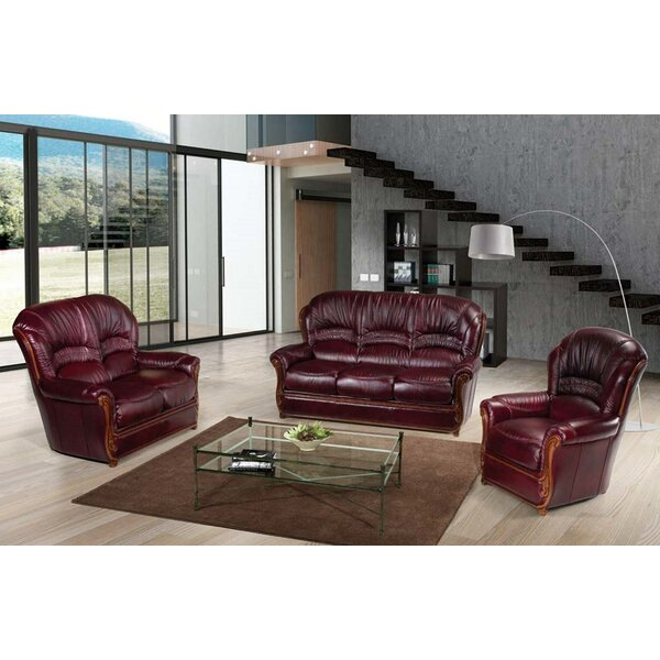 Burgundy 3 Piece Leather Living Room Set by Noci Design