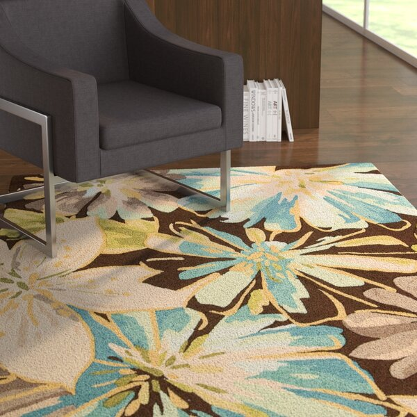 Hewish Hand-Hooked Brown/Blue Area Rug by Latitude Run