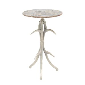 Avion Traditional Aluminum and Agate Round End Table with Antler Tripod Base by Loon Peak
