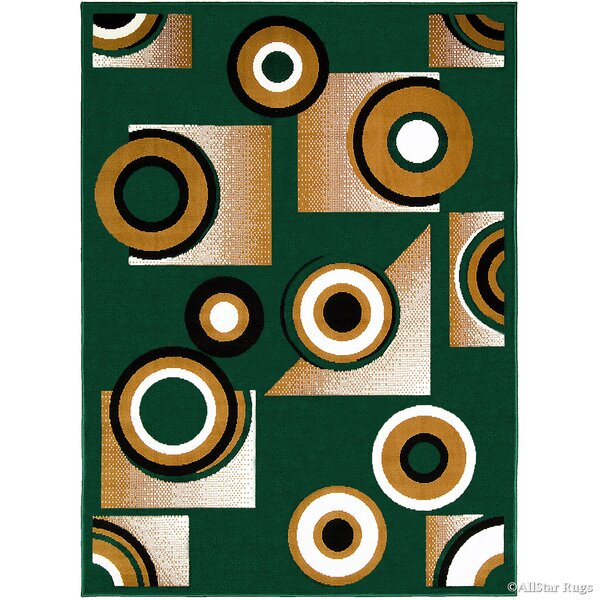 Hand-Woven Green Area Rug by AllStar Rugs