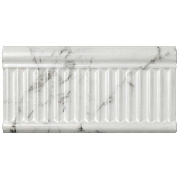Karra Carrara 3 x 6 Ceramic Subway Tile in Glossy Rex White/Gray by EliteTile