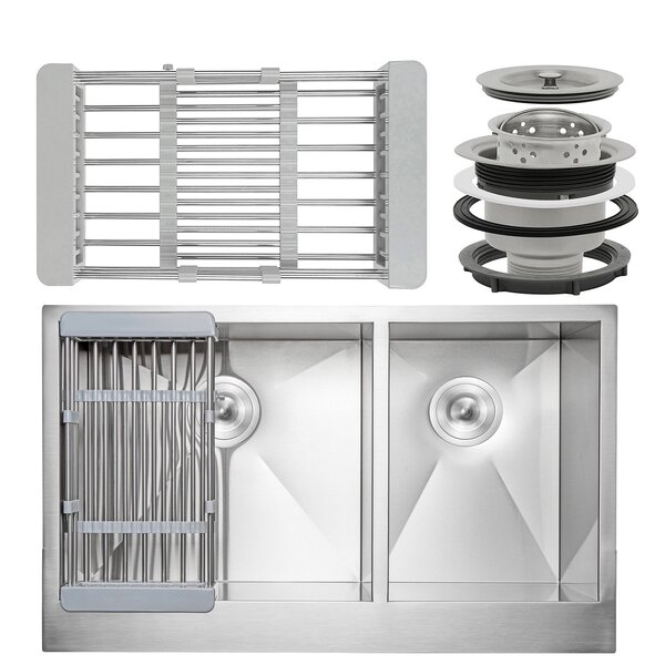 33 x 20 Farmhouse Apron Stainless Steel Double Bowl 60/40 Kitchen Sink w/ Adjustable Tray and Drain Strainer Kit by AKDY