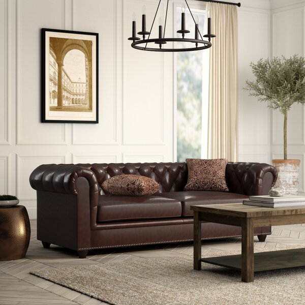 Itasca Leather Chesterfield Sofa by Greyleigh
