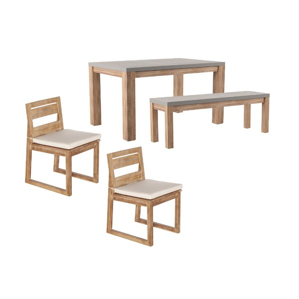Sarsden 4 Piece Dining Set with Cushions by Rosecliff Heights