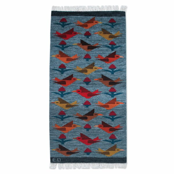 Bird Theme Hand-Woven Blue Area Rug by Novica