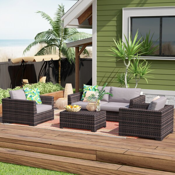 Letona Resort 4 Piece Rattan Sofa Seating Group with Cushions by Sol 72 Outdoor Sol 72 Outdoor