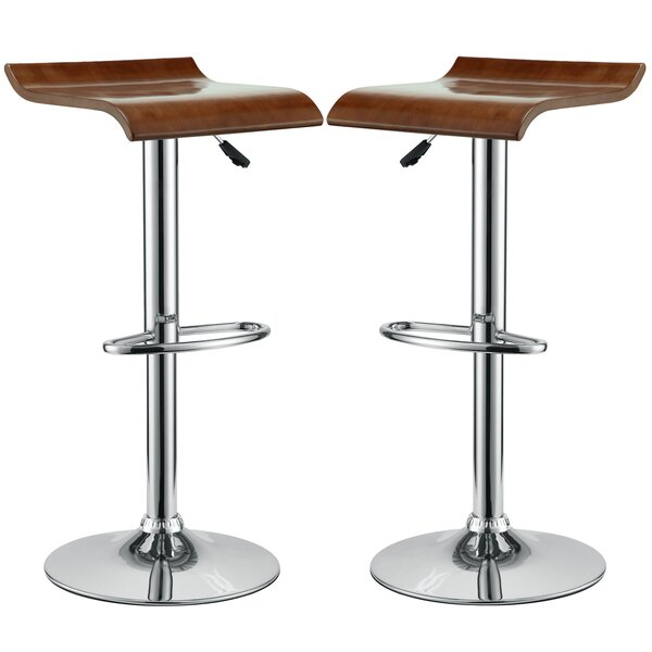 Brighton Adjustable Height Swivel Bar Stool (Set of 2) by Wade Logan