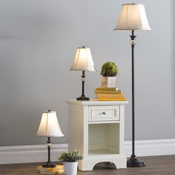 3 Piece Table and Floor Lamp Set by Three Posts