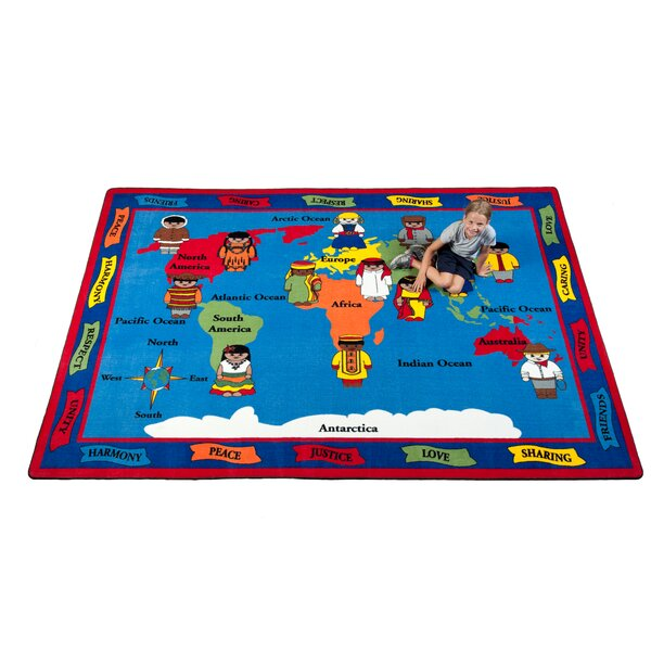 Our World of Peace Globe Blue Indoor/Outdoor Area Rug by Kid Carpet