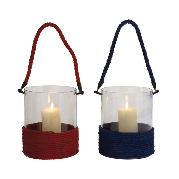 Glass and Rope Lantern (Set of 2) by Woodland Imports