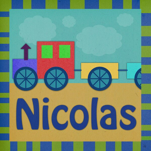 Train Personalized Canvas Art by Green Leaf Art