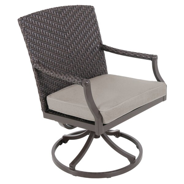 Kanzler Aluminum Outdoor Wicker Swivel Patio Dining Chair with Cushion (Set of 4) by Red Barrel Studio