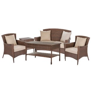 Beamer 5 Piece Rattan Conversation Set with Cushions By Bloomsbury Market
