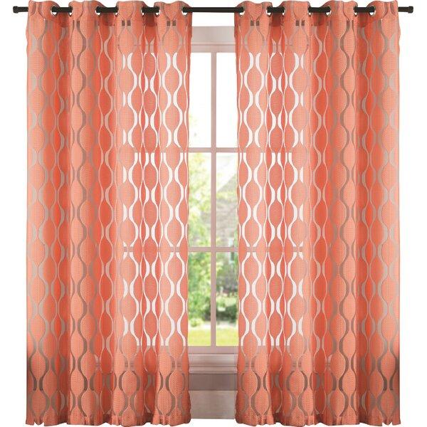 Lynfield Geometric Sheer Grommet Single Curtain Panel by Langley Street