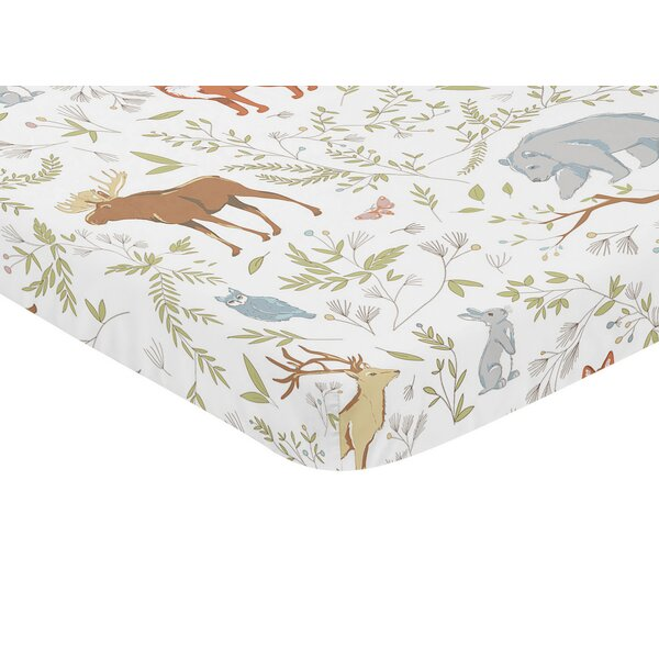 Woodland Toile Animal Print Fitted Mini Crib Sheet by Sweet Jojo Designs