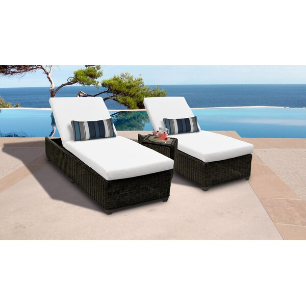 Fairfield Reclining Chaise Lounge Set with Cushion and Table by Sol 72 Outdoor Sol 72 Outdoor