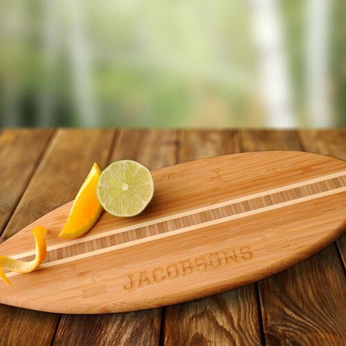 gift surfboard bamboo cutting board
