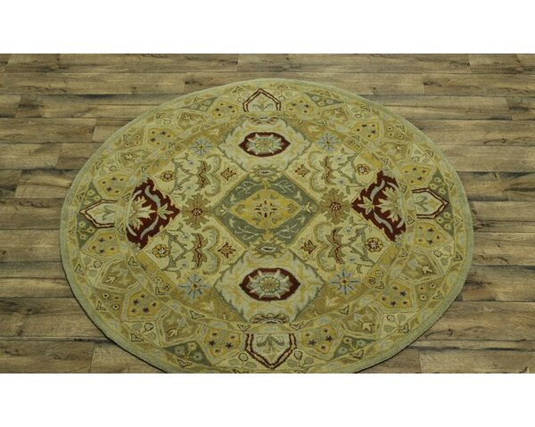 Bovill Oriental Hand-Knotted Wool Yellow/Gold Area Rug by Canora Grey