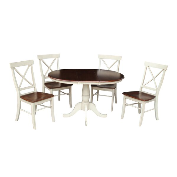 Petra 5 Piece Extendable Solid Wood Dining Set by August Grove
