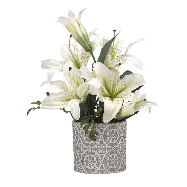Lilies Desktop Floral Arrangement in Planter by Bay Isle Home