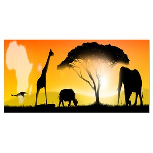 'African Wildlife Panorama' Graphic Art on Wrapped Canvas by Design Art