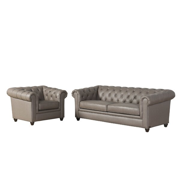 Andria 2 Piece Leather Chesterfield Living Room Set by Darby Home Co