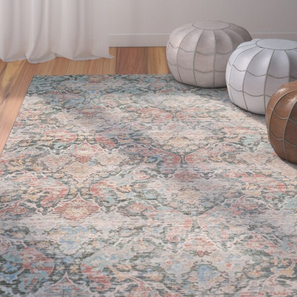 Amanda Hand-Loomed Coral/Aqua Area Rug by Bungalow Rose