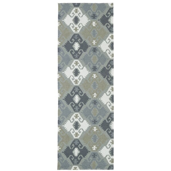 Cavour Traditional Handmade Pewter Green Indoor / Outdoor Area Rug by Winston Porter