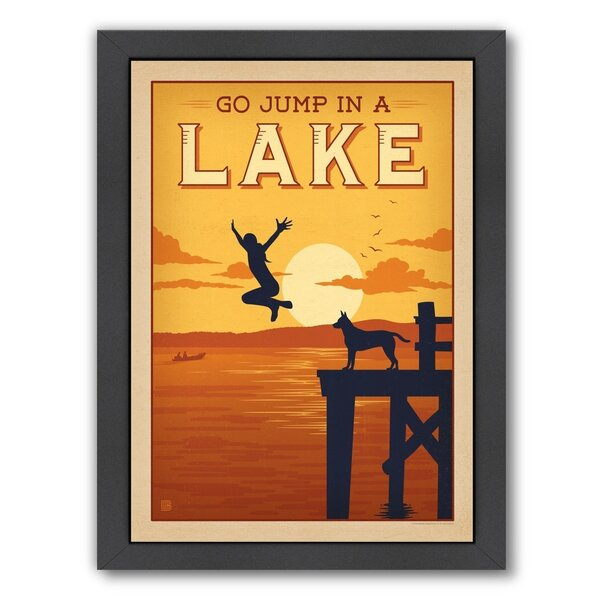 Jump in a Lake Framed Vintage Advertisement by East Urban Home