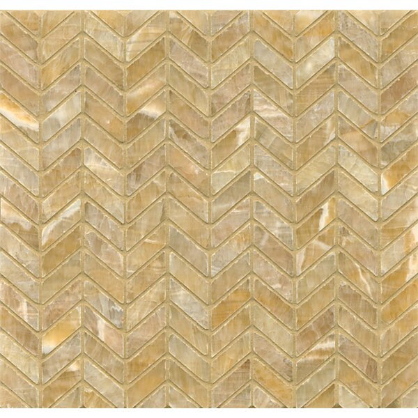 Onyx 12 x 12 Chevron Marble Mosaic Tile in Sweet Honey Onyx by Grayson Martin