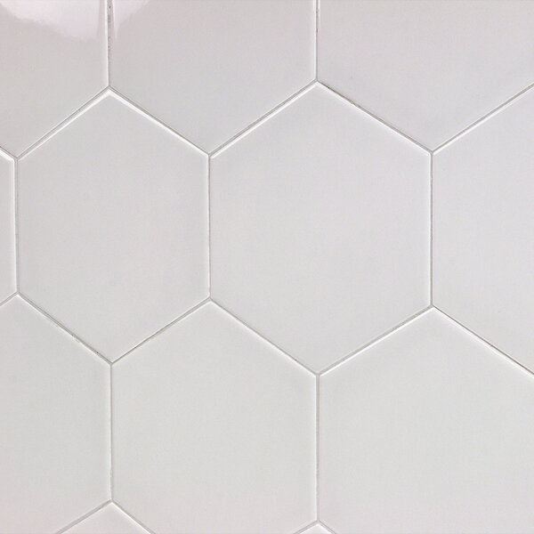 Bethlehem Hexagon 6 x 7 Ceramic Field Tile in Perla Brillo by Splashback Tile