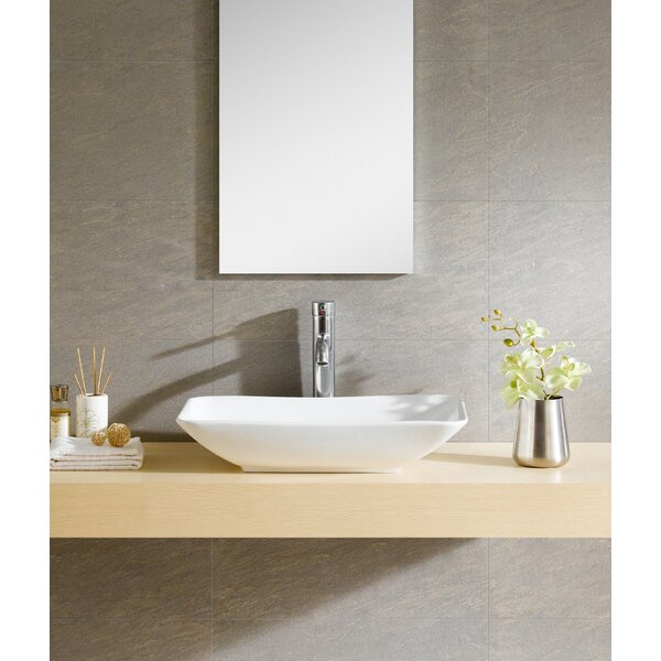 Modern Ceramic Rectangular Vessel Bathroom Sink by