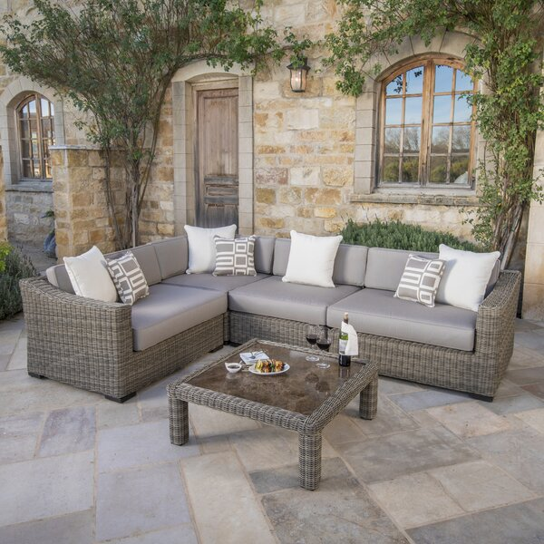 Monroeville Deluxe 5 Piece Sunbrella Sectional Seating Group with Cushions by Darby Home Co