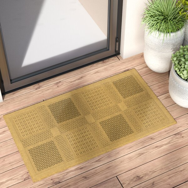 Short Natural / Olive Outdoor Transitional Area Rug by Winston Porter