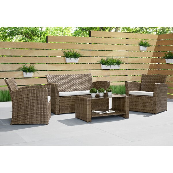 Broderick 4 Piece Rattan Sofa Seating Group with Cushions by Alcott Hill